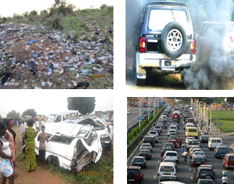 Plastic litter, traffic congestion and air pollution as well accidents caused by old vehicles.