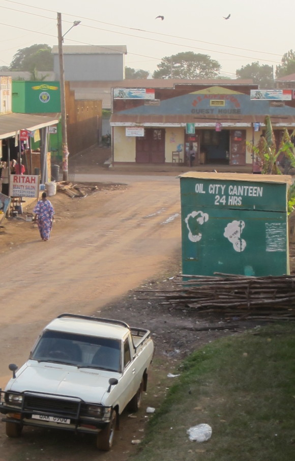 "A street in the ""oil city"" Hoima."