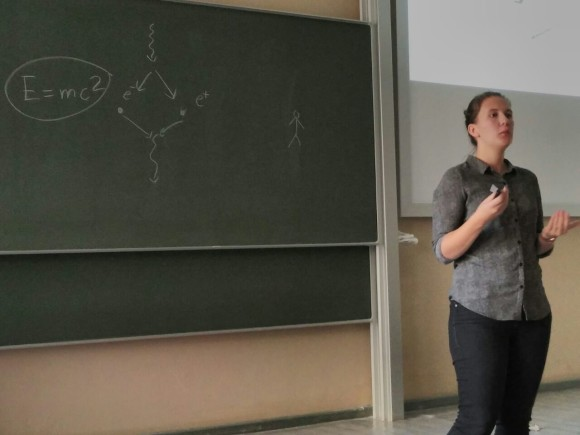 When giving a talk, one never knows where the audience's questions take you… In this case, Katharina Kolatzki was challenged to explain (and sketch) the conversion of energy into matter and vice versa.