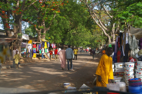 Traders harmoniously sell their wares on one of the market streets in Touboro, Nothern Cameroon